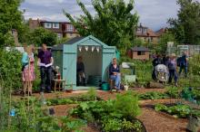 A picture of the potager during the open day, with the chance sit and look at the plants around