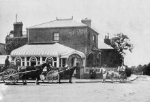 A picture of Hanger Hill Farm Dairy, c1904, at the corner of Mattock Lane and Dean Villas